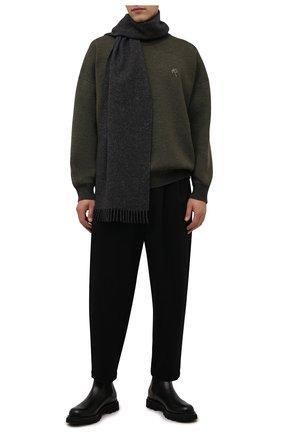 Мужской шарф из шерсти и кашемира BOSS темно-серого цвета, арт. 50458444 | Фото 2 (Материал: Шерсть; Кросс-КТ: шерсть)