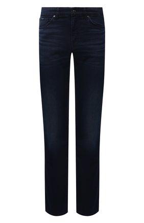 Мужские джинсы BOSS темно-синего цвета, арт. 50458275 | Фото 1 (Материал внешний: Хлопок; Длина (брюки, джинсы): Стандартные; Кросс-КТ: Деним; Силуэт М (брюки): Прямые; Стили: Кэжуэл)