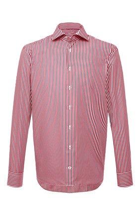 Мужская хлопковая сорочка VAN LAACK бордового цвета, арт. RIVARA-LPTF/151794 | Фото 1 (Материал внешний: Хлопок; Случай: Формальный; Рукава: Длинные; Принт: Полоска; Воротник: Акула; Рубашки М: Regular Fit; Манжеты: На пуговицах; Стили: Классический; Длина (для топов): Стандартные)
