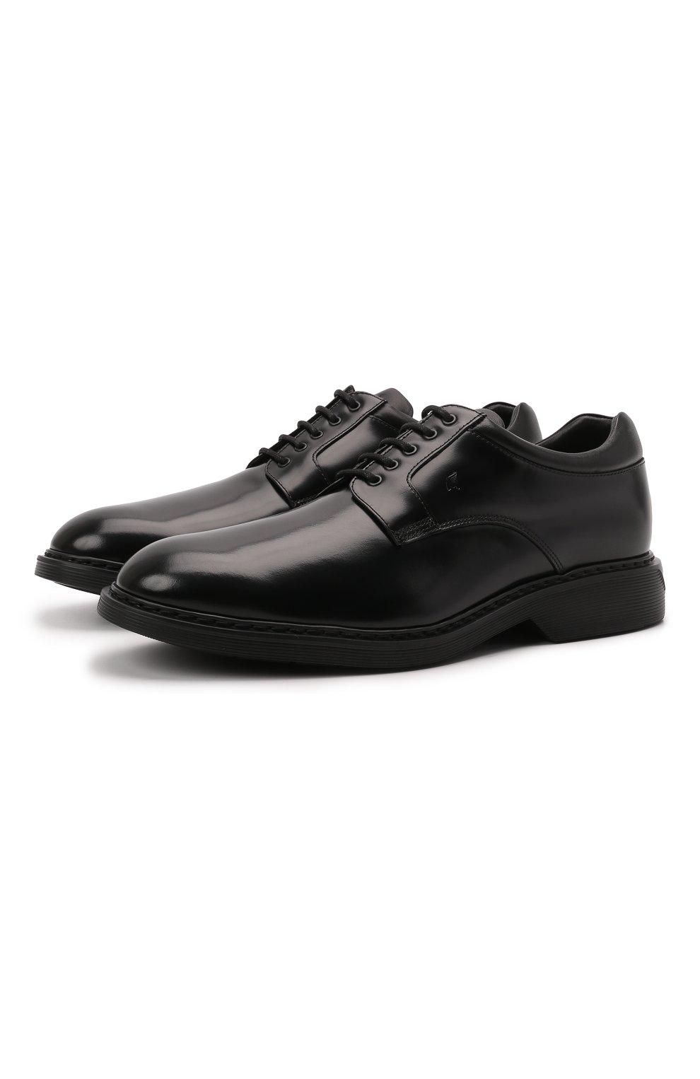 Мужские кожаные дерби HOGAN черного цвета, арт. HXM5760DU60QFY   Фото 1 (Материал внутренний: Натуральная кожа, Текстиль; Стили: Классический)