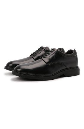 Мужские кожаные дерби HOGAN черного цвета, арт. HXM5760DU60QFY | Фото 1 (Материал внутренний: Натуральная кожа, Текстиль; Стили: Классический)