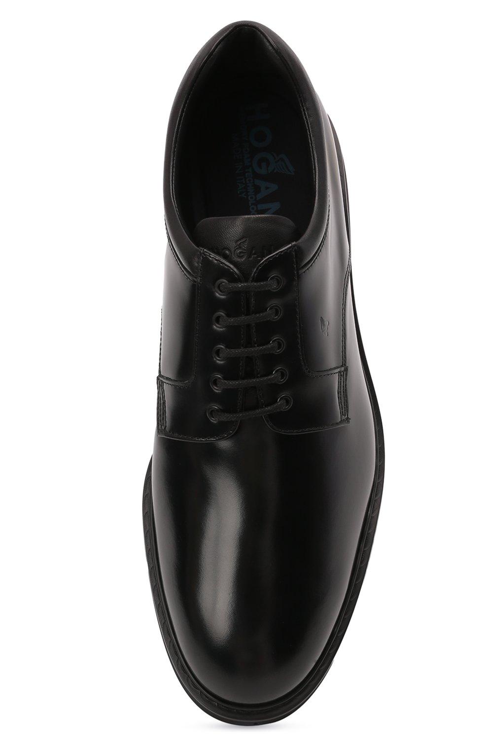 Мужские кожаные дерби HOGAN черного цвета, арт. HXM5760DU60QFY   Фото 5 (Материал внутренний: Натуральная кожа, Текстиль; Стили: Классический)