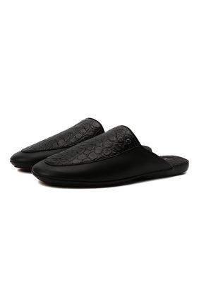 Мужского домашние туфли из кожи аллигатора ZILLI черного цвета, арт. MDW-K002/001/AMIS | Фото 1 (Материал внешний: Экзотическая кожа; Материал внутренний: Текстиль; Кросс-КТ: тапочки)