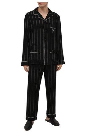Мужского домашние туфли из кожи аллигатора ZILLI черного цвета, арт. MDW-K002/001/AMIS | Фото 2 (Материал внешний: Экзотическая кожа; Материал внутренний: Текстиль; Кросс-КТ: тапочки)