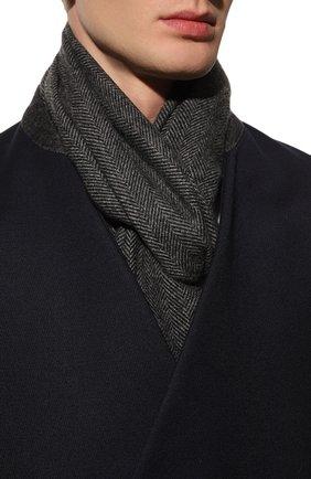 Мужской кашемировый шарф ANDREA CAMPAGNA темно-серого цвета, арт. 632298 | Фото 2 (Материал: Кашемир, Шерсть; Кросс-КТ: кашемир)