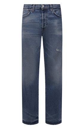 Мужские джинсы ACNE STUDIOS синего цвета, арт. B00149 | Фото 1 (Материал внешний: Хлопок; Длина (брюки, джинсы): Стандартные; Кросс-КТ: Деним; Силуэт М (брюки): Прямые; Детали: Потертости; Стили: Минимализм)