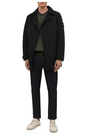 Мужской утепленный плащ STONE ISLAND черного цвета, арт. 751542149 | Фото 2 (Материал подклада: Синтетический материал; Материал внешний: Синтетический материал; Мужское Кросс-КТ: Плащ-верхняя одежда; Длина (верхняя одежда): До середины бедра, Короткие; Стили: Кэжуэл; Рукава: Длинные)