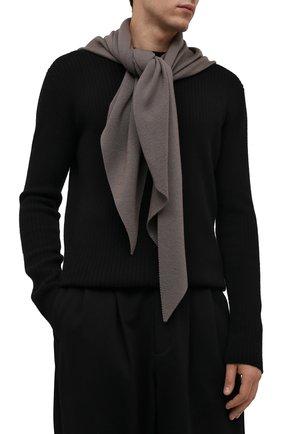 Мужской шерстяной шарф KAZUYUKI KUMAGAI серого цвета, арт. AA12-254 | Фото 2 (Материал: Шерсть; Кросс-КТ: шерсть)