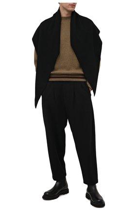Мужской шерстяной шарф KAZUYUKI KUMAGAI черного цвета, арт. AA12-254 | Фото 2 (Материал: Шерсть; Кросс-КТ: шерсть)