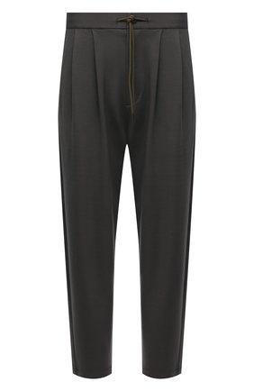 Мужские брюки KAZUYUKI KUMAGAI хаки цвета, арт. AP12-246 | Фото 1 (Длина (брюки, джинсы): Укороченные; Материал внешний: Вискоза, Синтетический материал; Случай: Повседневный; Стили: Минимализм)