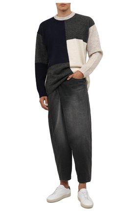 Мужские джинсы KAZUYUKI KUMAGAI черного цвета, арт. KP12-019 | Фото 2 (Длина (брюки, джинсы): Укороченные; Материал внешний: Хлопок; Кросс-КТ: Деним; Силуэт М (брюки): Широкие; Детали: Потертости; Стили: Минимализм)