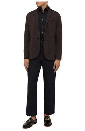 Мужской пиджак из шерсти и хлопка HARRIS WHARF LONDON коричневого цвета, арт. C8P22MPF | Фото 2 (Материал внешний: Шерсть, Хлопок; Длина (для топов): Стандартные; Рукава: Длинные; Пиджаки М: Приталенный; Случай: Повседневный; 1-2-бортные: Однобортные; Стили: Кэжуэл)