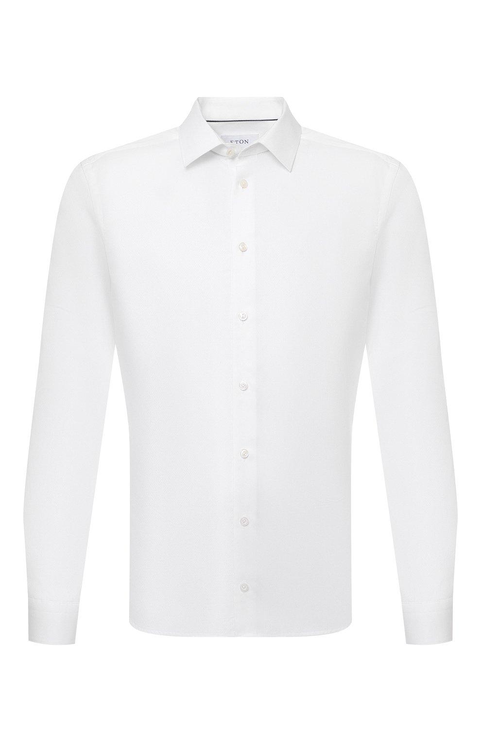Мужская хлопковая сорочка ETON белого цвета, арт. 1000 02450 | Фото 1 (Манжеты: На пуговицах; Воротник: Кент; Рукава: Длинные; Рубашки М: Super Slim Fit; Длина (для топов): Стандартные; Материал внешний: Хлопок; Стили: Классический; Случай: Формальный; Принт: Однотонные)