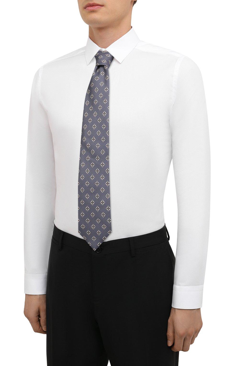 Мужская хлопковая сорочка ETON белого цвета, арт. 1000 02450 | Фото 4 (Манжеты: На пуговицах; Воротник: Кент; Рукава: Длинные; Рубашки М: Super Slim Fit; Длина (для топов): Стандартные; Материал внешний: Хлопок; Стили: Классический; Случай: Формальный; Принт: Однотонные)