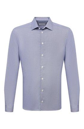 Мужская хлопковая сорочка ETON синего цвета, арт. 1000 02450 | Фото 1 (Материал внешний: Хлопок; Длина (для топов): Стандартные; Рукава: Длинные; Случай: Формальный; Принт: Однотонные; Воротник: Кент; Рубашки М: Super Slim Fit; Манжеты: На пуговицах; Стили: Классический)
