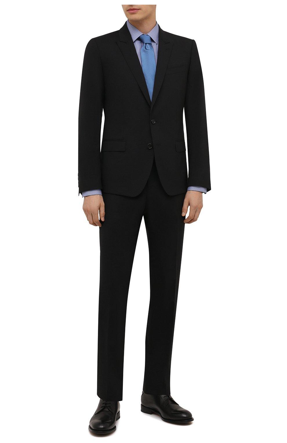 Мужская хлопковая сорочка ETON синего цвета, арт. 1000 02450 | Фото 2 (Манжеты: На пуговицах; Воротник: Кент; Рукава: Длинные; Рубашки М: Super Slim Fit; Длина (для топов): Стандартные; Материал внешний: Хлопок; Стили: Классический; Случай: Формальный; Принт: Однотонные)