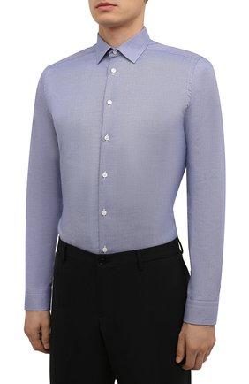 Мужская хлопковая сорочка ETON синего цвета, арт. 1000 02450 | Фото 3 (Манжеты: На пуговицах; Воротник: Кент; Рукава: Длинные; Рубашки М: Super Slim Fit; Длина (для топов): Стандартные; Материал внешний: Хлопок; Стили: Классический; Случай: Формальный; Принт: Однотонные)
