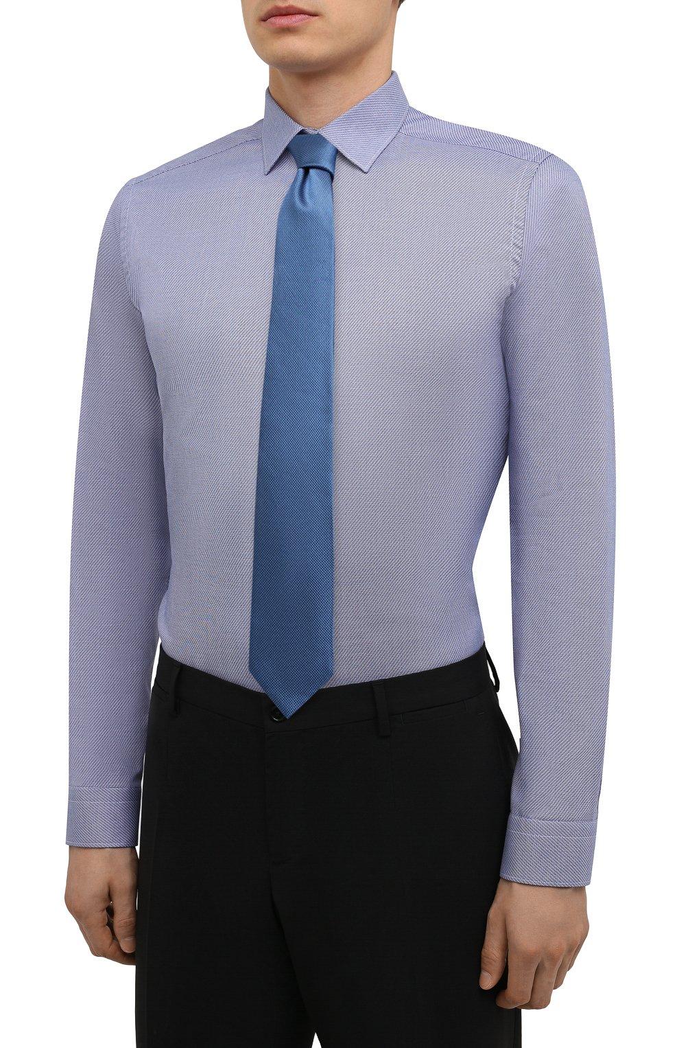 Мужская хлопковая сорочка ETON синего цвета, арт. 1000 02450 | Фото 4 (Манжеты: На пуговицах; Воротник: Кент; Рукава: Длинные; Рубашки М: Super Slim Fit; Длина (для топов): Стандартные; Материал внешний: Хлопок; Стили: Классический; Случай: Формальный; Принт: Однотонные)