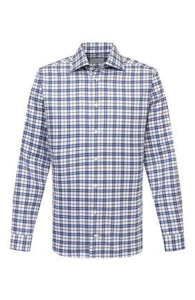 Мужская хлопковая рубашка ETON темно-синего цвета, арт. 1000 03090 | Фото 1 (Рукава: Длинные; Материал внешний: Хлопок; Длина (для топов): Стандартные; Случай: Повседневный; Принт: Клетка; Воротник: Акула; Рубашки М: Slim Fit; Манжеты: На пуговицах; Стили: Кэжуэл)
