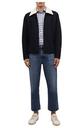 Мужская хлопковая рубашка ETON темно-синего цвета, арт. 1000 03090 | Фото 2 (Рукава: Длинные; Материал внешний: Хлопок; Длина (для топов): Стандартные; Случай: Повседневный; Принт: Клетка; Воротник: Акула; Рубашки М: Slim Fit; Манжеты: На пуговицах; Стили: Кэжуэл)