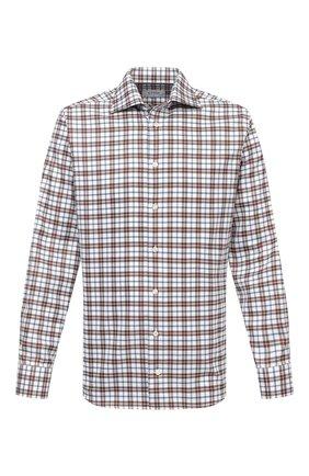 Мужская хлопковая рубашка ETON темно-коричневого цвета, арт. 1000 03090 | Фото 1 (Материал внешний: Хлопок; Рукава: Длинные; Длина (для топов): Стандартные; Случай: Повседневный; Принт: Клетка; Воротник: Акула; Рубашки М: Slim Fit; Манжеты: На пуговицах; Стили: Кэжуэл)