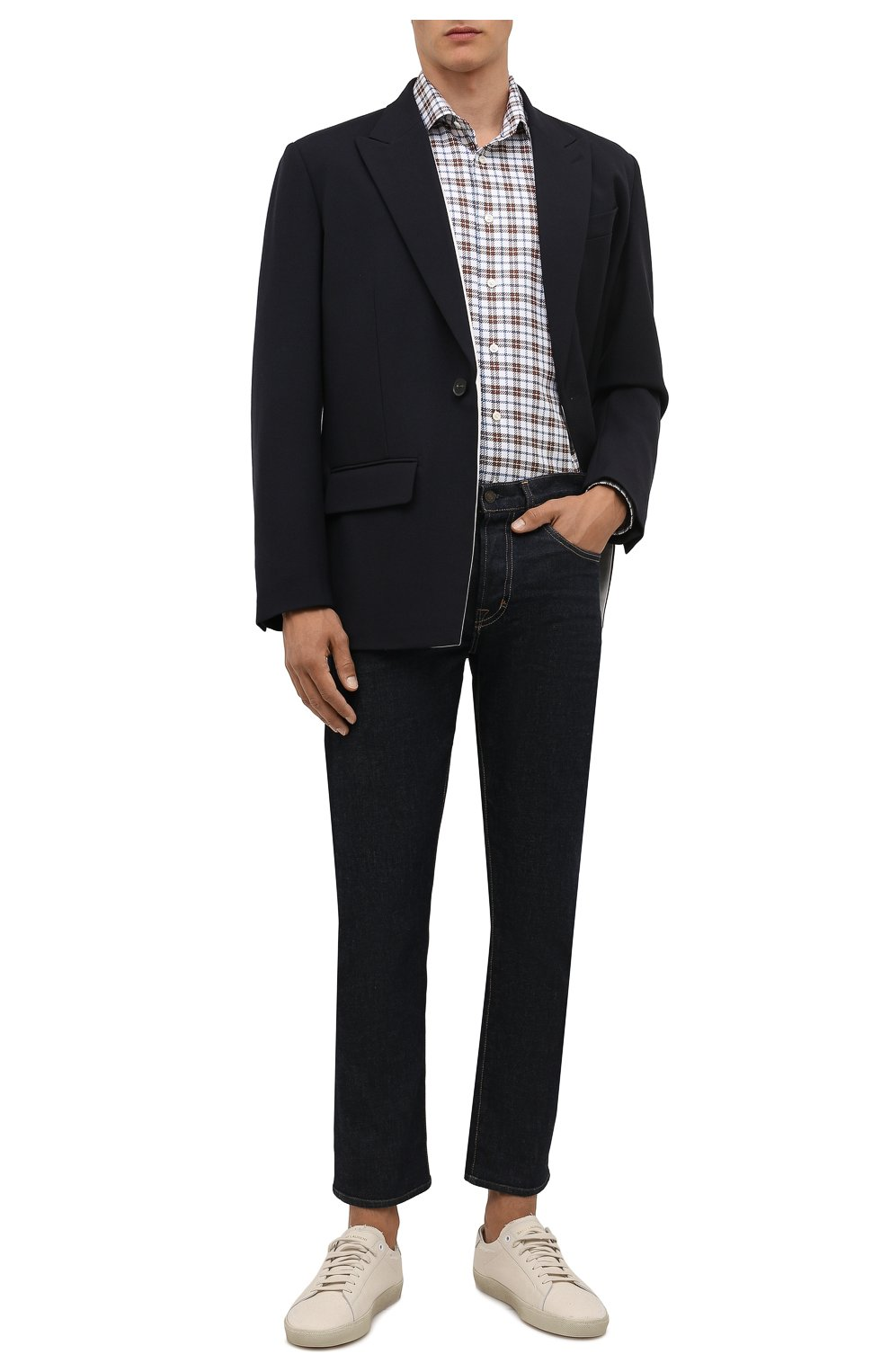 Мужская хлопковая рубашка ETON темно-коричневого цвета, арт. 1000 03090 | Фото 2 (Манжеты: На пуговицах; Принт: Клетка; Рукава: Длинные; Воротник: Акула; Случай: Повседневный; Длина (для топов): Стандартные; Рубашки М: Slim Fit; Материал внешний: Хлопок; Стили: Кэжуэл)