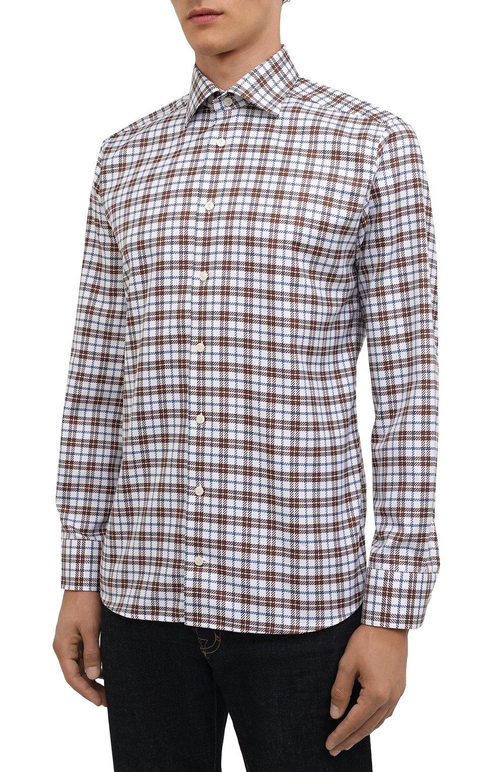 Мужская хлопковая рубашка ETON темно-коричневого цвета, арт. 1000 03090 | Фото 3 (Манжеты: На пуговицах; Принт: Клетка; Рукава: Длинные; Воротник: Акула; Случай: Повседневный; Длина (для топов): Стандартные; Рубашки М: Slim Fit; Материал внешний: Хлопок; Стили: Кэжуэл)