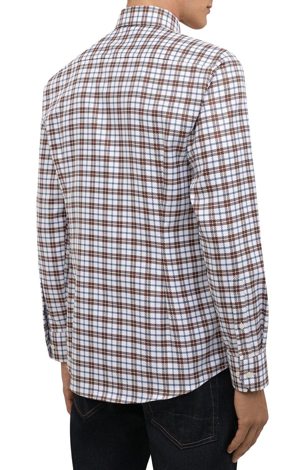 Мужская хлопковая рубашка ETON темно-коричневого цвета, арт. 1000 03090 | Фото 4 (Манжеты: На пуговицах; Принт: Клетка; Рукава: Длинные; Воротник: Акула; Случай: Повседневный; Длина (для топов): Стандартные; Рубашки М: Slim Fit; Материал внешний: Хлопок; Стили: Кэжуэл)