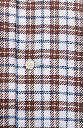 Мужская хлопковая рубашка ETON темно-коричневого цвета, арт. 1000 03090 | Фото 5 (Манжеты: На пуговицах; Принт: Клетка; Рукава: Длинные; Воротник: Акула; Случай: Повседневный; Длина (для топов): Стандартные; Рубашки М: Slim Fit; Материал внешний: Хлопок; Стили: Кэжуэл)
