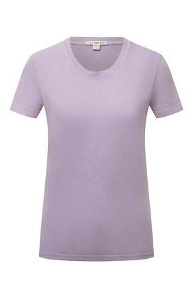 Женская хлопковая футболка JAMES PERSE сиреневого цвета, арт. WLJ3114   Фото 1 (Материал внешний: Хлопок; Принт: Без принта; Рукава: Короткие; Женское Кросс-КТ: Футболка-одежда; Стили: Кэжуэл; Длина (для топов): Стандартные)