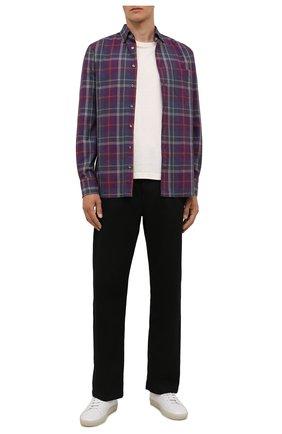 Мужская рубашка VAN LAACK фиолетового цвета, арт. R0Y-SF01W/156540 | Фото 2 (Длина (для топов): Стандартные; Рукава: Длинные; Материал внешний: Хлопок, Растительное волокно; Случай: Повседневный; Принт: Клетка; Воротник: Button down; Рубашки М: Slim Fit; Манжеты: На пуговицах; Стили: Кэжуэл)