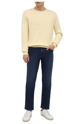 Мужские джинсы ZILLI темно-синего цвета, арт. MCW-00030-JABI1/R001 | Фото 2 (Материал внешний: Хлопок; Длина (брюки, джинсы): Стандартные; Кросс-КТ: Деним; Силуэт М (брюки): Прямые; Детали: Потертости; Стили: Кэжуэл)
