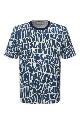Мужская хлопковая футболка LANVIN синего цвета, арт. RM-TS0002-J053-A21 | Фото 1 (Рукава: Короткие; Длина (для топов): Стандартные; Материал внешний: Хлопок; Принт: С принтом; Стили: Кэжуэл)