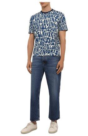 Мужская хлопковая футболка LANVIN синего цвета, арт. RM-TS0002-J053-A21 | Фото 2 (Рукава: Короткие; Длина (для топов): Стандартные; Материал внешний: Хлопок; Принт: С принтом; Стили: Кэжуэл)