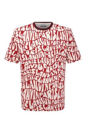 Мужская хлопковая футболка LANVIN красного цвета, арт. RM-TS0002-J053-A21 | Фото 1 (Рукава: Короткие; Материал внешний: Хлопок; Длина (для топов): Стандартные; Принт: С принтом; Стили: Кэжуэл)