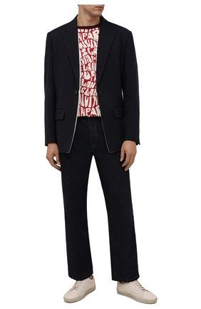 Мужская хлопковая футболка LANVIN красного цвета, арт. RM-TS0002-J053-A21 | Фото 2 (Рукава: Короткие; Материал внешний: Хлопок; Длина (для топов): Стандартные; Принт: С принтом; Стили: Кэжуэл)
