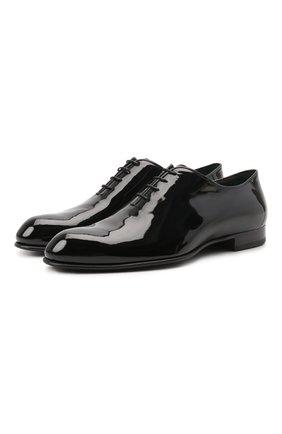 Мужские кожаные оксфорды BRIONI черного цвета, арт. QEH40L/09707 | Фото 1 (Материал внутренний: Натуральная кожа; Стили: Классический; Мужское Кросс-КТ: Вечерняя обувь)