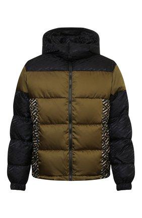 Мужская пуховая куртка VERSACE хаки цвета, арт. 1002645/1A01813 | Фото 1 (Рукава: Длинные; Материал утеплителя: Пух и перо; Материал подклада: Синтетический материал; Длина (верхняя одежда): Короткие; Материал внешний: Синтетический материал; Кросс-КТ: Куртка; Мужское Кросс-КТ: пуховик-короткий; Стили: Кэжуэл)