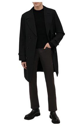 Мужские брюки из шерсти и хлопка BRIONI темно-коричневого цвета, арт. SPLQ0L/01A4N/CHAM0NIX | Фото 2 (Материал внешний: Шерсть, Хлопок; Случай: Повседневный; Стили: Кэжуэл; Длина (брюки, джинсы): Стандартные)