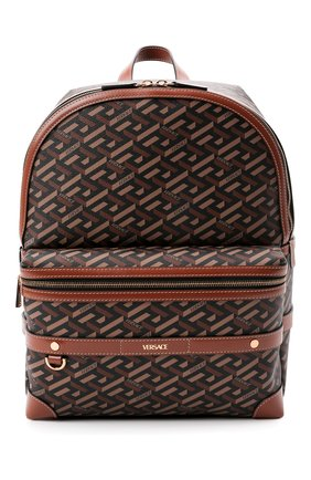 Мужской рюкзак VERSACE коричневого цвета, арт. 1000745/1A01444 | Фото 1 (Материал: Экокожа)