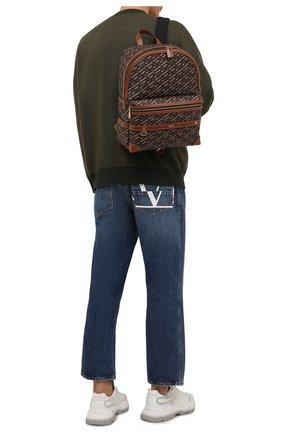 Мужской рюкзак VERSACE коричневого цвета, арт. 1000745/1A01444 | Фото 2 (Материал: Экокожа)