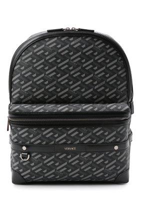 Мужской рюкзак VERSACE серого цвета, арт. 1000745/1A01444 | Фото 1 (Материал: Экокожа)