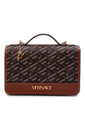 Женская сумка monogram VERSACE коричневого цвета, арт. 1001908/1A02129   Фото 1 (Ремень/цепочка: На ремешке; Размер: small; Материал: Экокожа; Сумки-технические: Сумки через плечо, Сумки top-handle)