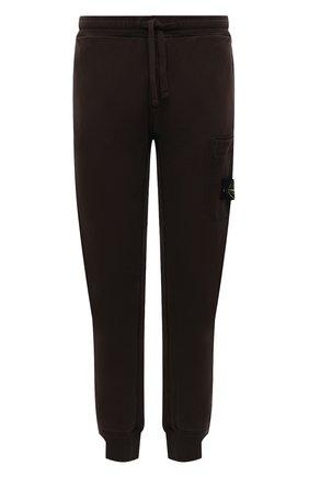 Мужские хлопковые джоггеры STONE ISLAND темно-коричневого цвета, арт. 751564520 | Фото 1 (Материал внешний: Хлопок; Силуэт М (брюки): Джоггеры; Мужское Кросс-КТ: Брюки-трикотаж; Стили: Спорт-шик; Длина (брюки, джинсы): Стандартные)