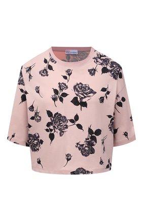 Женская хлопковая футболка REDVALENTINO светло-розового цвета, арт. WR0MG12D/67Y | Фото 1 (Рукава: 3/4; Длина (для топов): Стандартные; Материал внешний: Хлопок; Принт: С принтом; Женское Кросс-КТ: Футболка-одежда; Стили: Кэжуэл)