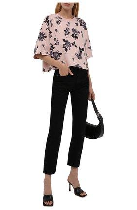 Женская хлопковая футболка REDVALENTINO светло-розового цвета, арт. WR0MG12D/67Y | Фото 2 (Рукава: 3/4; Длина (для топов): Стандартные; Материал внешний: Хлопок; Принт: С принтом; Женское Кросс-КТ: Футболка-одежда; Стили: Кэжуэл)