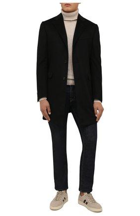 Мужской кашемировое пальто CORNELIANI черного цвета, арт. 881403-1812098/00 | Фото 2 (Материал подклада: Вискоза; Материал внешний: Шерсть, Кашемир; Мужское Кросс-КТ: пальто-верхняя одежда; Стили: Классический; Длина (верхняя одежда): До середины бедра; Рукава: Длинные)