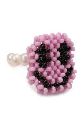 Женское кольцо смайл HIAYNDERFYT розового цвета, арт. 1-1PSMP | Фото 1 (Материал: Стекло)