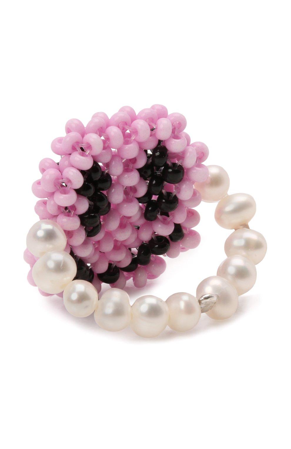 Женское кольцо смайл HIAYNDERFYT розового цвета, арт. 1-1PSMP | Фото 3 (Материал: Стекло)