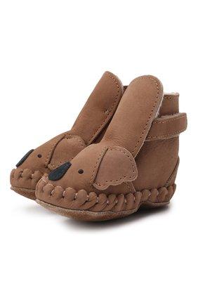 Детские кожаные пинетки DONSJE AMSTERDAM коричневого цвета, арт. 1034001-NL127/0-12M   Фото 1